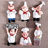 Fridge Refrigerator Magnets Set Euramerican Style 3D Resin Chef Cook Bread Refrigerator Magnet Home Kitchen Decoration Accessories Travel Souvenirs