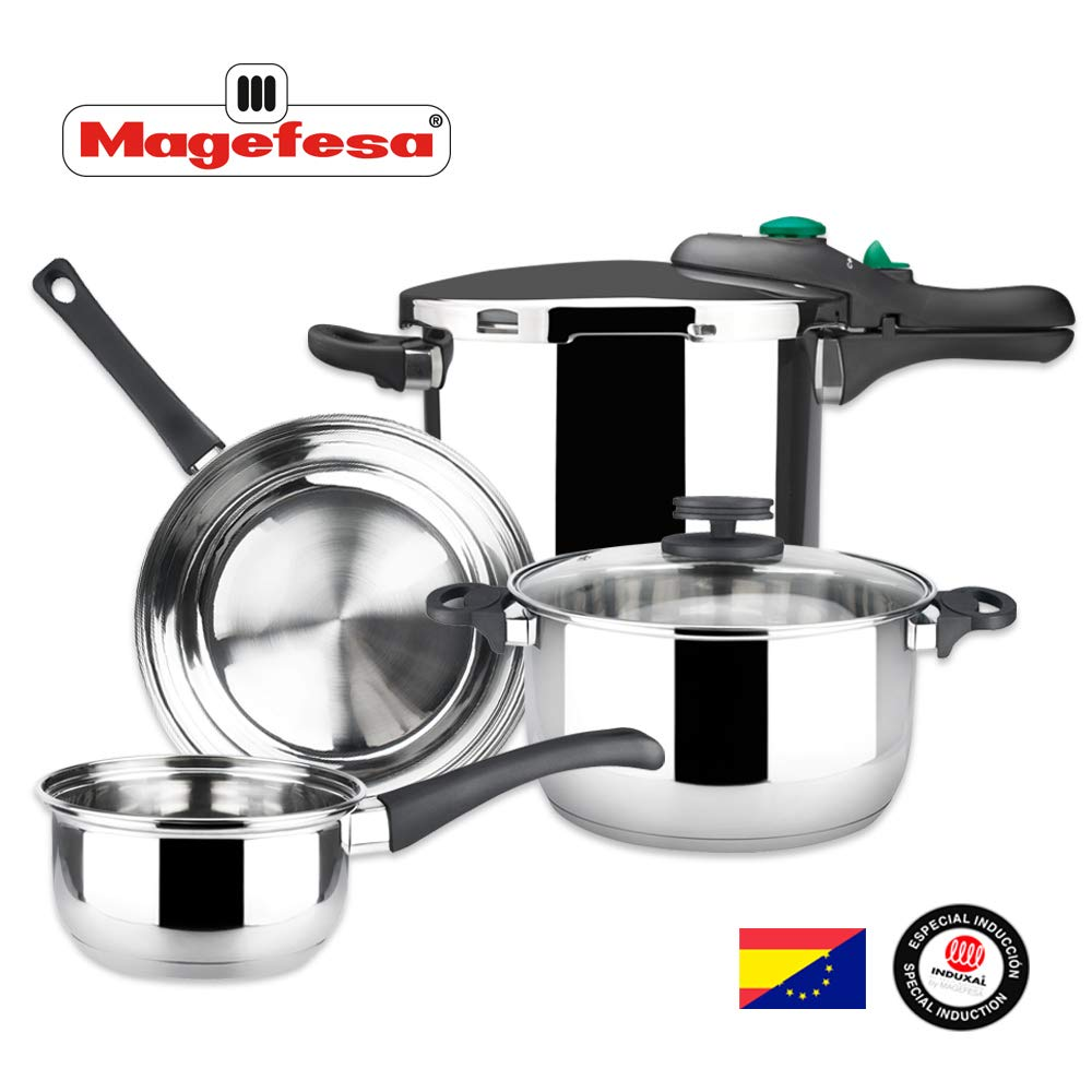 MAGEFESA – Batería de Cocina MAGEFESA Style 4 Piezas + Olla presión Dynamic 6L Fabricada en Acero Inoxidable. Fácil Limpieza y Apta lavavajillas. Asas de bakelita. Apta INDUCCIÓN.: Amazon.es: Hogar