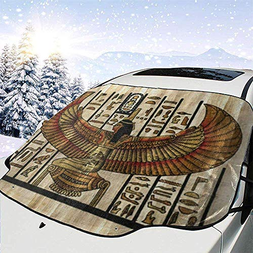 GOSMAO Periodic Table Of The Elements Car Windshield Cover Snow Cover Ice Removal Wiper Visor Protector All Weather Winter Summer,Fit For Most Cars,147x118cm