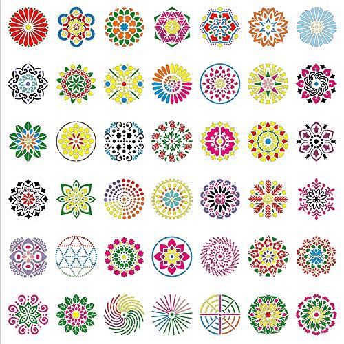 42 Stück Mandala Dotting Schablonen Mandala Zeichnung Werkzeuge Blumen Punktierung Schablonen, Verschiedene Muster, für Wand Holz Stoff Glas Metall Stein DIY Malerei Kunst Projekte Möbel Malen
