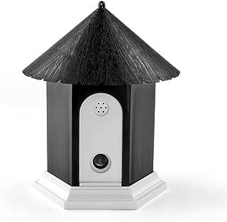 Flexzion Ultrasonic Dog Bark Control Outdoor Pet Anti Bark Deterrent Stop Barking Device Bird House Box Design Waterproof for Home Garden Hanging Battery Operated