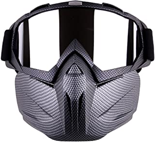Outamateur Motorcycle Goggles Mask - Tactical Glasses with Detachable Mask Adjustable Windproof Outdoor Paintball Airsoft ...