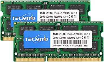 TECMIYO 8GB Kit (2 x 4GB) DDR3L-1600 SODIMM, DDR3 PC3-12800 Non ECC Unbuffered 1.35V/1.5V CL11 2RX8 Dual Rank for Laptops ...