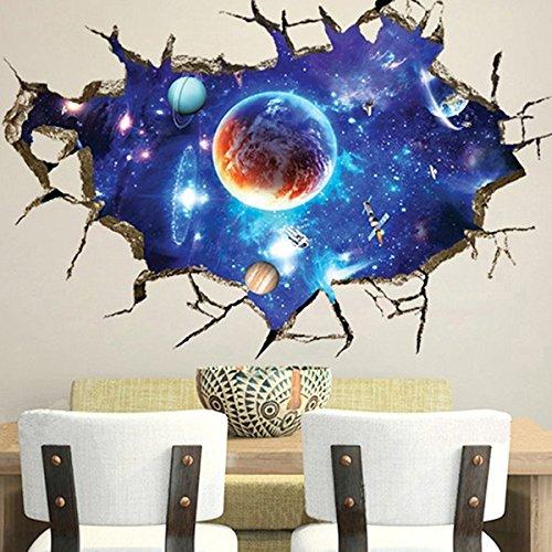 Bluelover Espace 3D Extérieur Mur Stickers Home Déco Murale Stickers Muraux De Art Galaxy Amovible