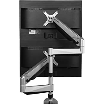Loctek D7SD Dual Monitor Mount Has Dual Stacking Arm, Desk Clamp/Grommet Base Use for 2 LCDs, Holds up to 27inches LCD Monitors