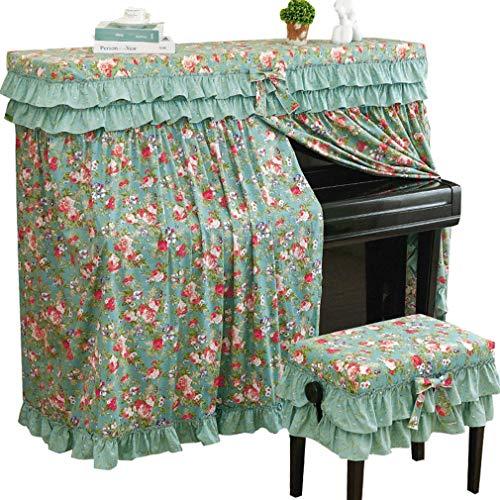 Upright Piano Abdeckung American Piano Deckel voll Abdeckung Idyllische Blumen Gestreifte Klavier Dust Cover (Color : B, Size : Single Bench)