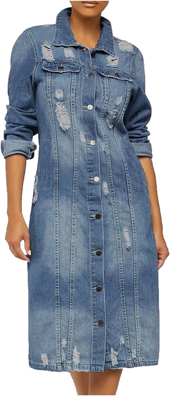 PLENTOP Oversized Denim Jacket Distressed Boyfriend Jean Button Down Coat Jeans Trucker Jacket for Women Girls