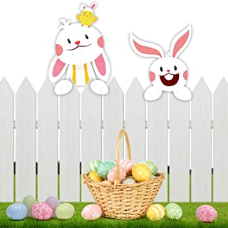 CCINEE Easter Bunny Fence Decoration,Rabbit Fence Topper with Adhesives Outdoor Garden Lawn Yard Decor for Home Party Supply