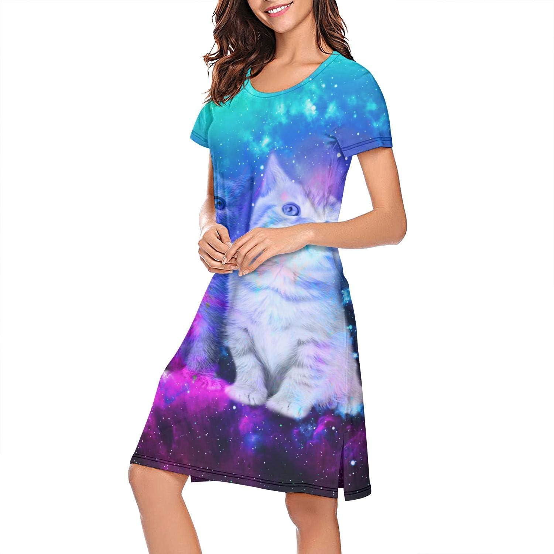 ZWEN Women's Starry Sky Bengal Cat Nightgown Printed Night Dress Comfortable Sleep Shirt
