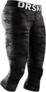 DRSKIN 1, 2 or 3 Pack Men's 3/4 Compression Pants Cool Dry Sports Baselayer Running Workout Active Tights Leggings Shorts