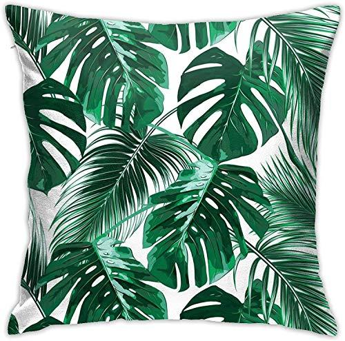 MODORSAN Fundas de Almohada de poliéster con Hojas de Palmera Verde Tropical Funda de Almohada Decorativa con Cremallera Oculta Cuadrada de 18 x 18 Pulgadas
