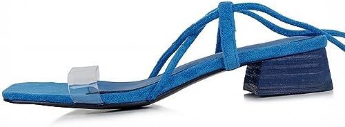 DHG DHG DHG Chaussures Romaines avec des Chaussures de Mode Sexy épais,Couleur Bleue,37 951