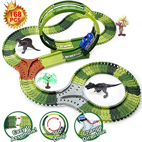 Dinosaur Toys Race Tracks for Kids, 360° Route Race Car Flexible Track Set, Children
