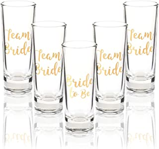 Party Favors Shot Glasses - Bachelorette Shot Glasses with Bride to Be and Team Bride Prints- Set of 5, 2 oz Each