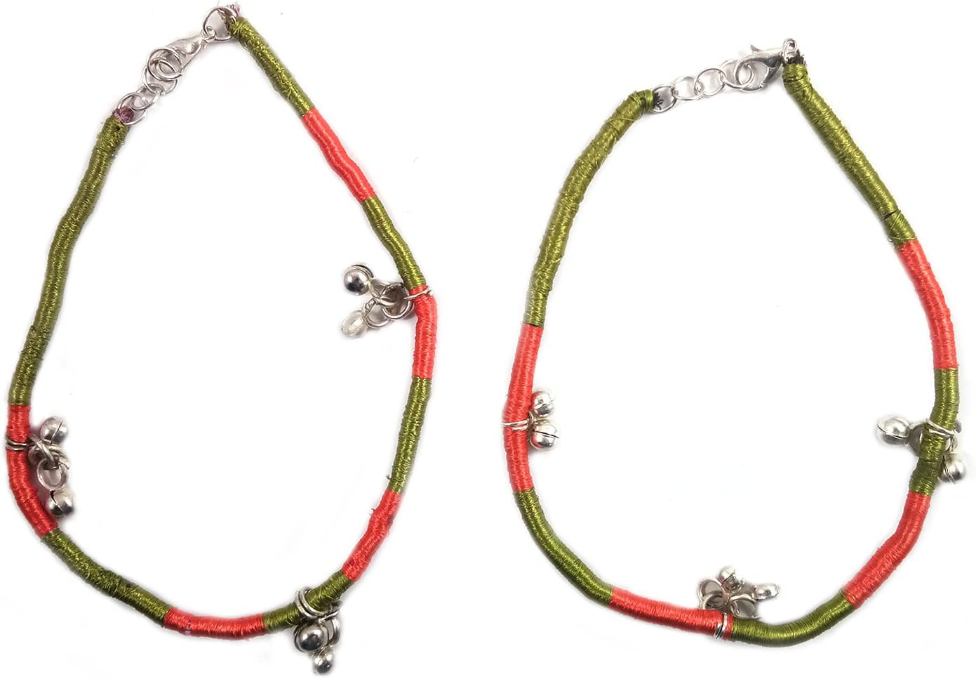 Set of 2 Crochet Anklets with Ghungroo Beads Beautiful Hand Craft Retro Vintage Fashion Foot Ankle Bracelet Indian Traditional Fashion Jewellery for Women's & Girls