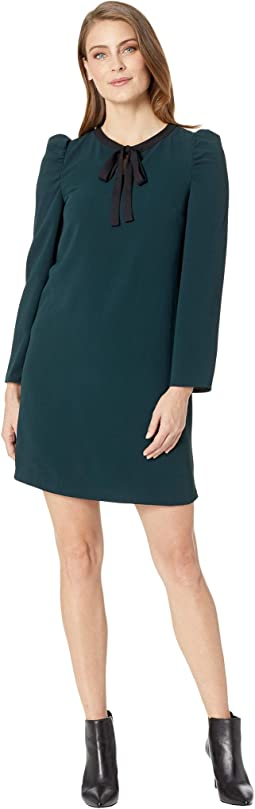 Long Sleeve Puffed Dress w/ Neck Tie