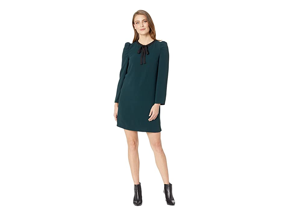 CeCe Long Sleeve Puffed Dress w/ Neck Tie (Deep Spruce) Women