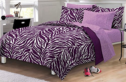 Buy Zebra Purple Ultra Soft Microfiber Girls Comforter Sheet Set ...