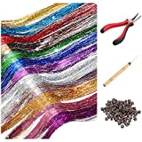 Hair Tinsel Strands Kit, Tinsel Hair Extensions, Halloween Christmas Hair Accessories Decoration Hair Tinsel Kit for Women Girls with Tools, Silicone Link Rings Beads, 12 Colors, 2400 Strands