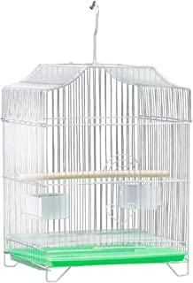 Mumoo Bear Bird Cage Parrot Stainless Steel Birdcage Breeding Pigeon Villa with Food Container and Wooden Stick, Assorted ...