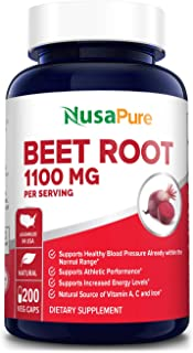 Beet Root 1100 mg 200 Veggie caps (Vegetarian, Non-GMO & Gluten-Free,Made with Organic Beet Root Powder ) - Supports and M...