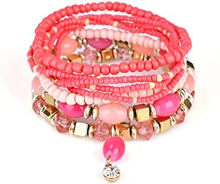 JAJAFOOK Bohemian Stretch Crystal Pearl Beaded Wrap Bangle Stacked Bracelets Sets for Women, Stack of 6