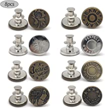 8 PCS Instant Buttons Jean Buttons Removable Button No Sew Buttons for Pants Jeans Sewing Crafts DIY Clothes (17mm) Adjust...