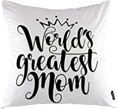 oFloral Happy Mothers Day Throw Pillow Covers Cushion Cover World's Greatest Mom Black Calligraphic Letter Decorative Squa...