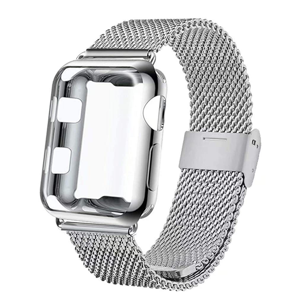 GBPOOT Compatible for Apple Watch Band 38mm 40mm 42mm 44mm with Screen Protector Case, Sports Wristband Strap Replacement Band with Protective Case Compatible Iwatch Series 4/3/2/1 jqr2942641