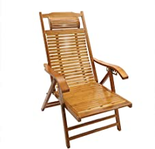 YATAI Wood Recliner Chair – Folding Rocking Chair with Arms Rest – Rocking Patio Wooden Relaxing Chair – Bamboo Armchair S...
