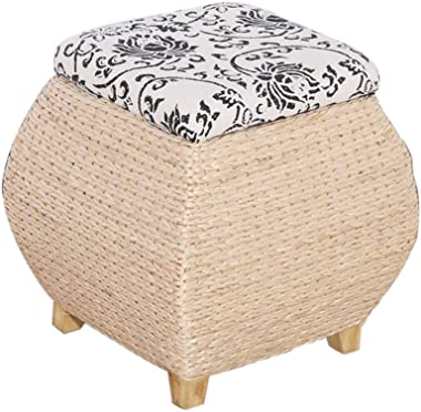 Footstools & Ottomans Storage Stool - Rattan Multifunctional Storage Stool can Store All Kinds of Debris can sit Stool Changi