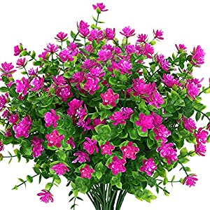 Silk Flower Arrangements KLEMOO Artificial Flowers Fake Outdoor UV Resistant Boxwood Plants Shrubs 4 Pack, Faux Plastic Greenery for Indoor Outside Hanging Planter Home Office Wedding Farmhouse Decor (Fushia)