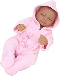 11 inch Mini Black Cute Alive Newborn Sleeping Baby Dolls Silicone Full Body African American Washable for Girl by Terabithia