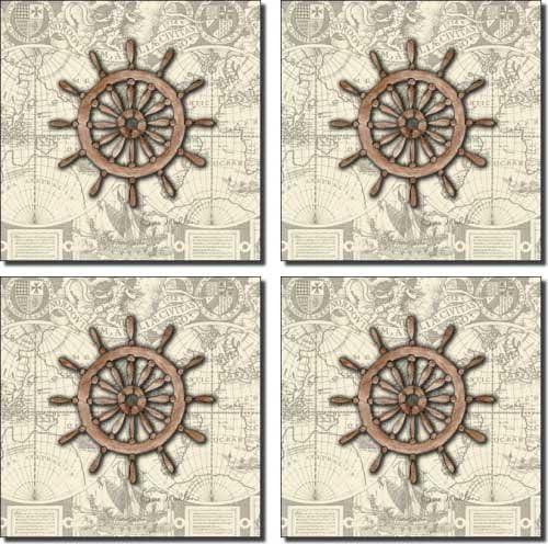 Nautical - Wheel by Sara Mullen Great interest Set Accent 5 ☆ popular Tile Ceramic 4.25