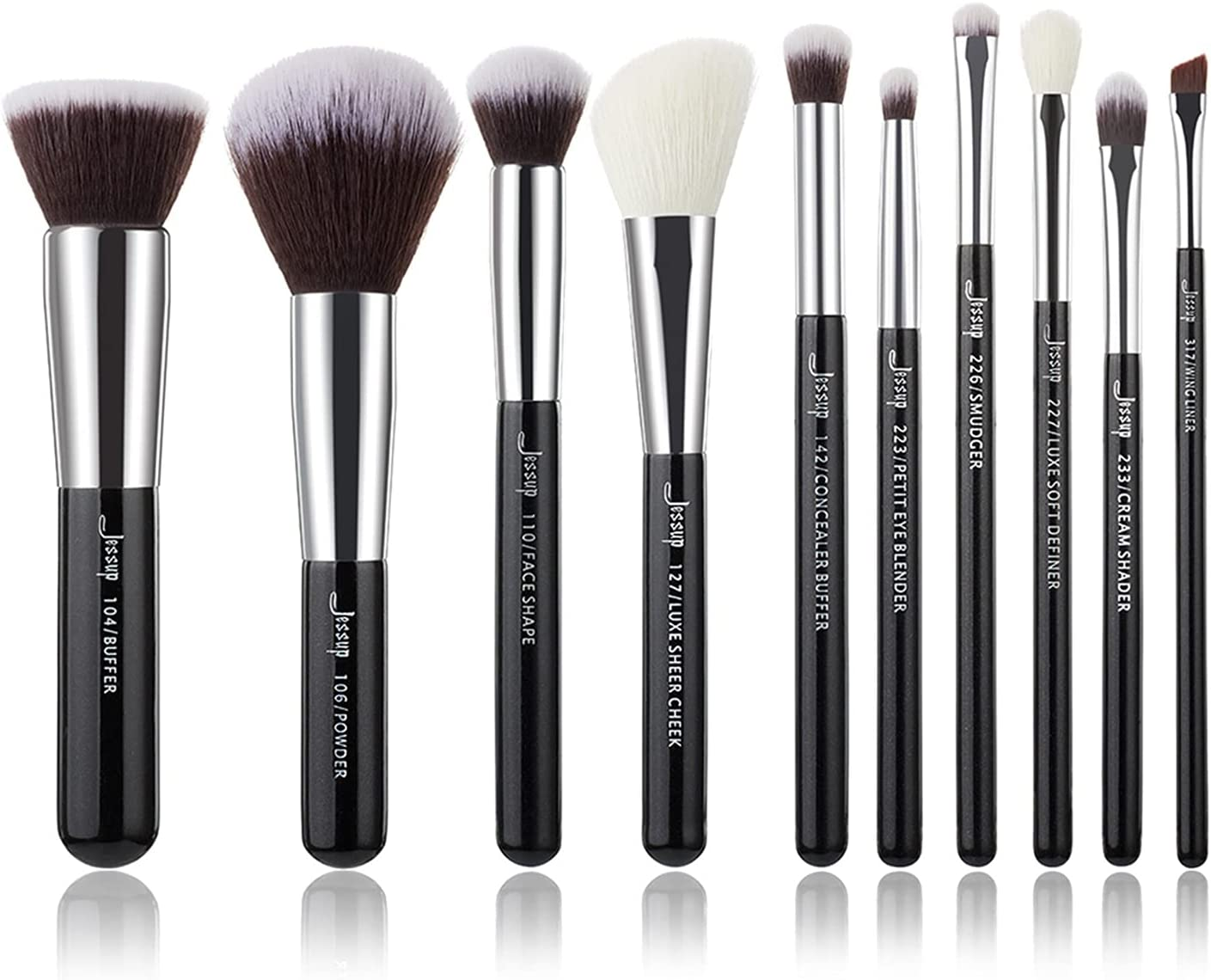 Makeup Brushes Set Black Silver Max 68% OFF F Professional Hair Charlotte Mall Natural with