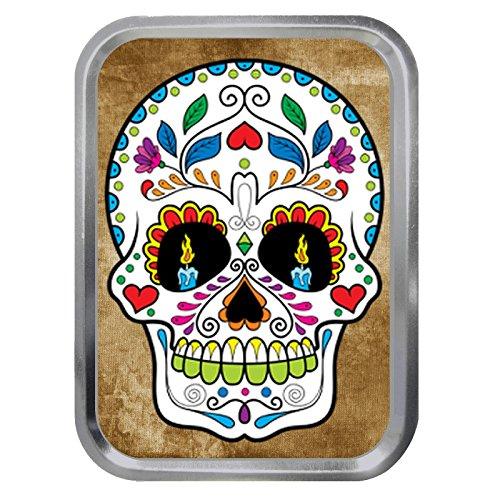 Sugar Skull Pattern 2oz Silver Tobacco Tin,Sweet Box,Empty Storage Can
