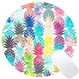 Wknoon Vintage Watercolor Pineapple Painting Art Round Mouse Pad, Cute Tropical Pineapple Circular Mouse Pads