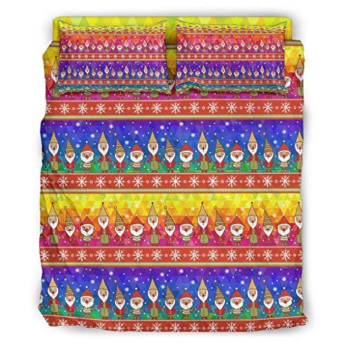 Hehweiiiyda Ropa de cama de enanito de Navidad, microfibra, 4 piezas, funda nórdica con estampado, suave con cremallera y 2 fundas de almohada, sábana bajera para Hotel Queen Twin White 228 x 264 cm