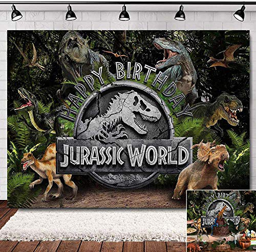 Jungle Animals Jurassic World Photography Backdrop Baby Kids Happy Birthday Party Banner Supplies Forest Dinosaur Photo…