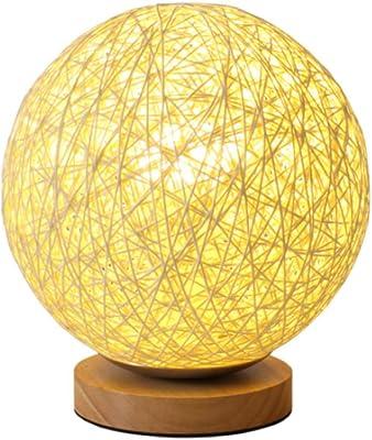 Lámpara de mesa redonda de madera E27, lámpara de escritorio de ...
