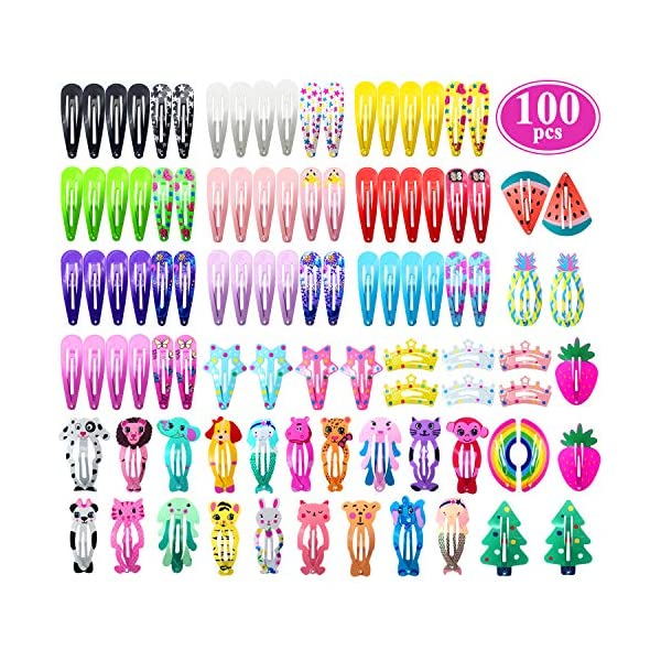 Beauty Shopping Hair Clips for Girls, Funtopia 100 Pcs No Slip Metal Snap Hair Clips Barrettes for