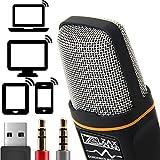 ZaxSound Micrófono cardioide de condensador, micrófono profesional, con trípode, para PC, portátil, iPhone, iPad, teléfonos Android, tabletas,...