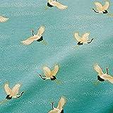 Stoff Meterware Baumwolle Kranich türkis Japan weiß