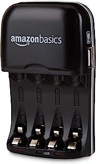 Amazon Basics Chargeur de piles Ni-MH AA et AAA avec port USB