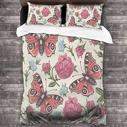 AEMAPE 86'x70' Juego de Cama Microfibra 100% Suave Flores Mariposas Rosas Bedding Sábanas Pareja DE Almohadas