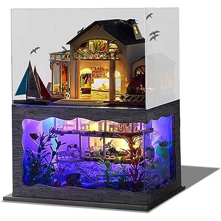 DIY Miniatur Holz Hawaii Villa Puppenhaus Kit LED Licht Geschenk Kreatives X4X8