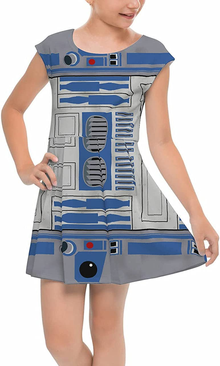 Rainbow Time sale Fees free!! Rules Girls Cap Sleeve Pleated Dress Droid Little - Blue