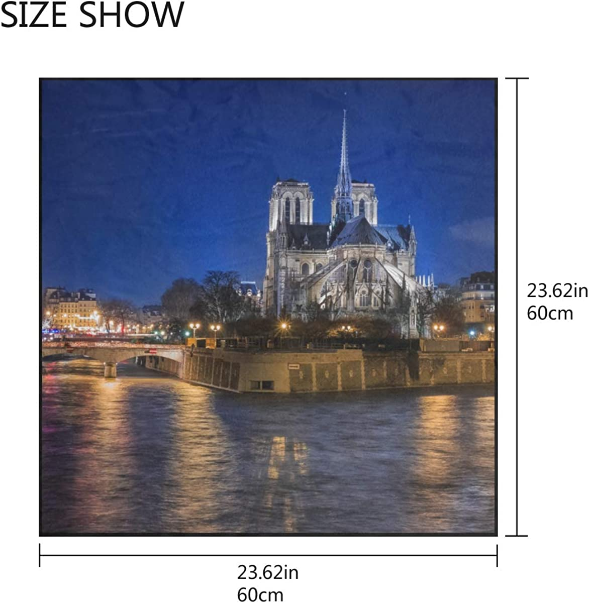 Soft Polyester Silk Womens Neck Scarves Fashion Print Charming View Notre Dame De Paris Lady Head Scarf Hanging Scarf Scarfs For Women Multiple Ways Of Wearing Daily Decor