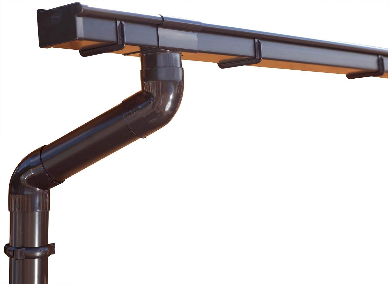 1 Dachseite /Überdachung oder Vordach. Type 125   in Titanzink//Verzinkt//Anthrazit Komplettes Set bis 10.20 m Ideal f/ür Veranda , Verzinkt Zink Dachrinnen//Regenrinnen Set Pultdach