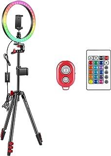 Neewer 30,5 cm RGB-ringlampa selfie-ljusring med stativstativ och telefonhållare, infraröd fjärrkontroll, dimbar 16 färger...